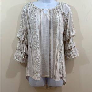 Absolutely Famous Cascading Sleeve Shirt  Size M